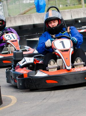 Two men racing in taupo go karts
