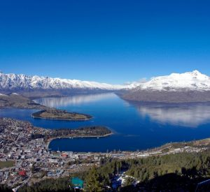 Panoramic views over Queenstown during winter