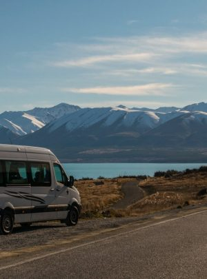 Campervan parked roadside at Lake Pukaki in Canterbury New Zealand