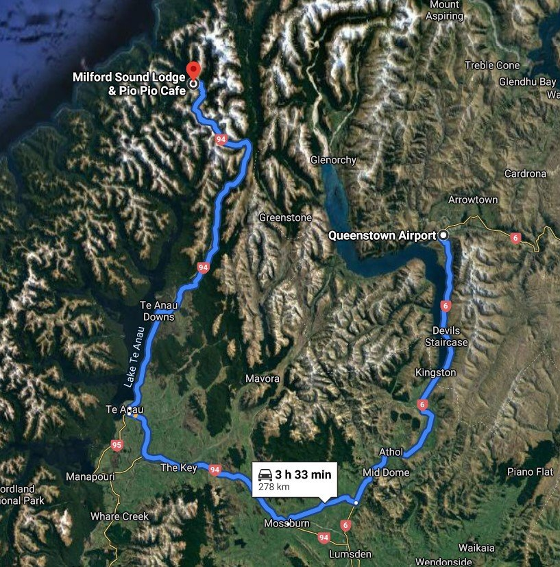 Queenstown Airport to Milford Sound drive map