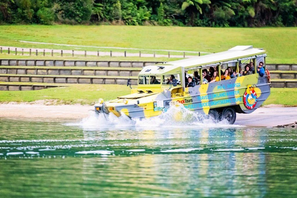 Rotorua duck tours splashdown into blue lake tikitapu in new zealand
